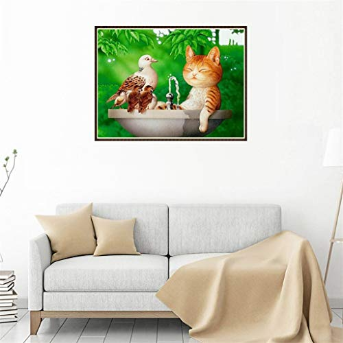 2019HoHo DIY 5D Diamond Painting by Number Kits Cat and Bird Full Drill Rhinestone Embroidery Painting Home Wall Decor Arts Craft