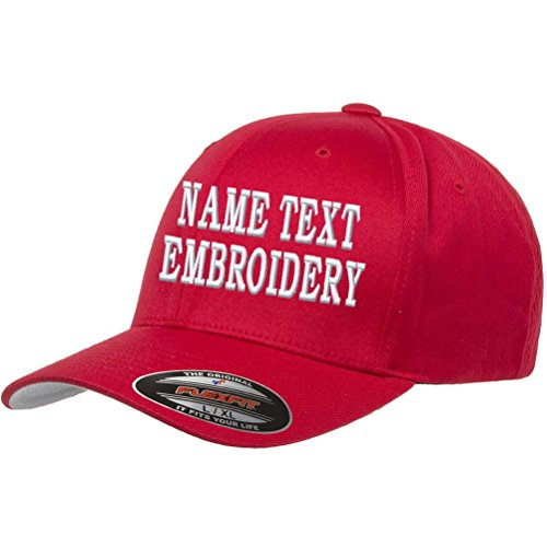 - Custom Embroidery Hat Personalized Flexfit 6277 Text Embroidered Baseball Cap - Red