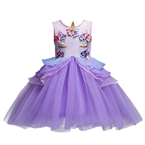 Little Girls Kids Flower Unicorn Birthday Halloween Cosplay Fancy Costume Tutu Dress up Lace Tulle Pageant Party Princess Dance Evening Gown Outfits Clothes Purple 6-7 by IWEMEK