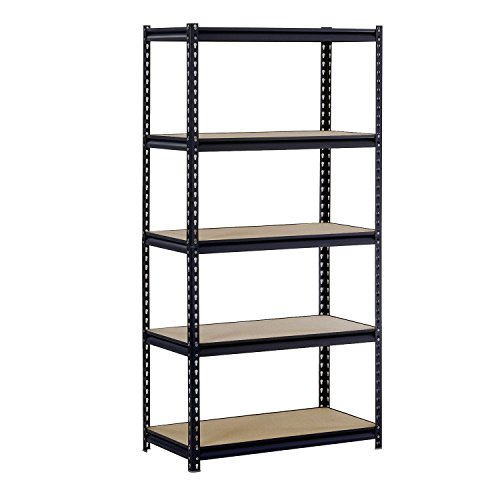 - Sandusky/Edsal UR185P-BLK Black Steel Heavy Duty 5-Shelf Shelving Unit, 4000lbs Capacity, 36