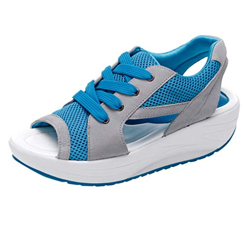 Mysky Women Summer Popular Fish Mouth Hollow Out Breathable Mesh Lace Up Increase Soft Flat Sandals Sneakers Blue