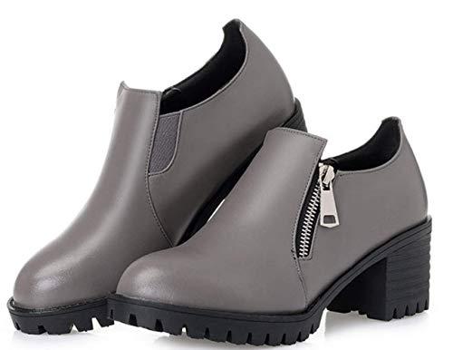 Tacón De Grueso Cuero Gray Individuales Alto Mujer Zapatos Shiney qRwAIER6