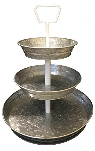 Curly Willow Home Accents 3 Tier Galvanized Round Serving Trays with White Handle (Three Tier Round)