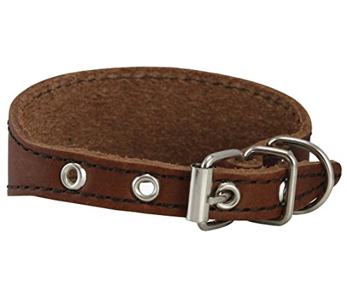 Image of Brown Real Leather Tapered Dog Collar 1,5