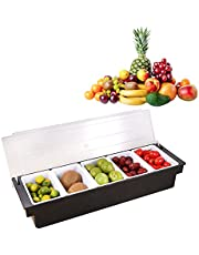 Kairaley Food & Condiment Dispenser, 6 Tray Plastic Garnish Station with Lid for Bartending & Serving Topping Organizer Restaurant Supplies