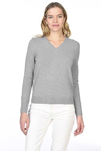 State Cashmere Donna 100% Puro Cashmere Pullover A Manica Lunga Con collo a V Meteo Grigio