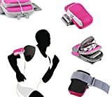 Tsmine OPPO Find 7 / 7A Universal Sports Gym Armband Wrist Bag Case - Running Jogging Cycling Sports Gym Keys Money Fitness Pouch Armband Wrist Zipper Bag Case, Hot Pink