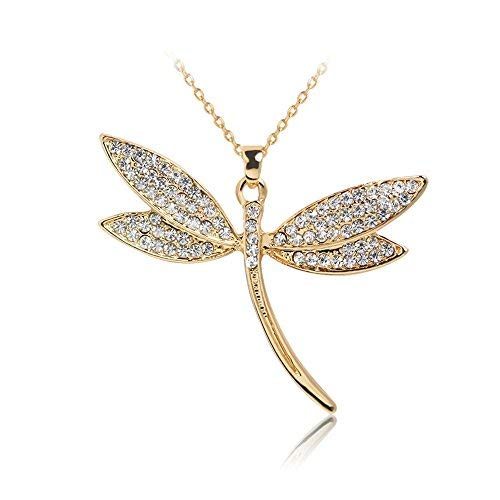 Dragonfly Pendant Necklace,Haluoo Women Fashion Gold Love Infinity Dragonfly Rhinestone Clavicle Necklace Sweater Gold Plated Chain Necklace Stylish Women Jewelry 18″ +3″ Chain Linked (Silver)