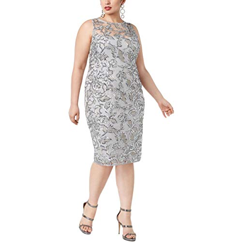 Adrianna Papell Womens Plus Sequined Cocktail Sheath Dress Silver 18W