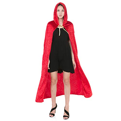 Spooktacular Creations Hooded Velvet Cloak Halloween Women Witch Cape Costume Accessory Red