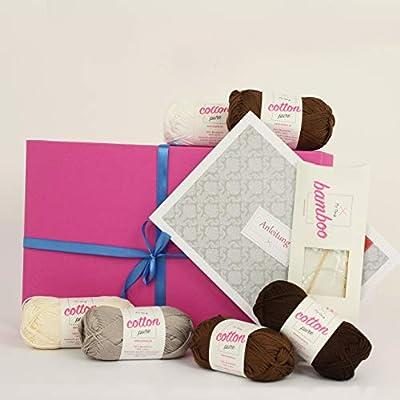 myoma – Juego de tejer regalo * caja de regalo del paquete de hielo Café * Juego de lana – – Agujas de & instrucciones para tejer – Algodón tejer + Label –