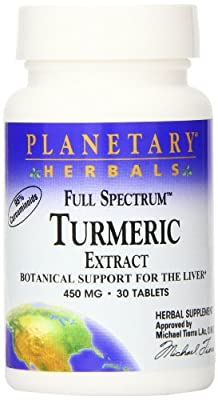 Planetary Herbals Full Spectrum Turmeric Extract Tablets, 450 mg, 30 Count