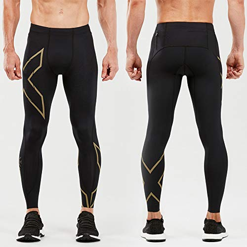 2XU Men's MCS Run Compression Tight with Back Storage (Black/Gold Reflective, L) by 2XU (Image #1)