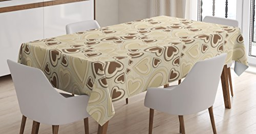 Lunarable Hearts Tablecloth, Valentines Day Themed Pattern with Symbols of Love Intertwined Soft Colored Image, Dining Room Kitchen Rectangular Table Cover, 60 W X 84 L inches, Beige -