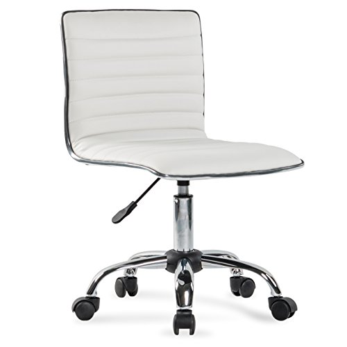 Belleze Ergonomic Low Back Armless White Ribbed Swivel Task Office Chair