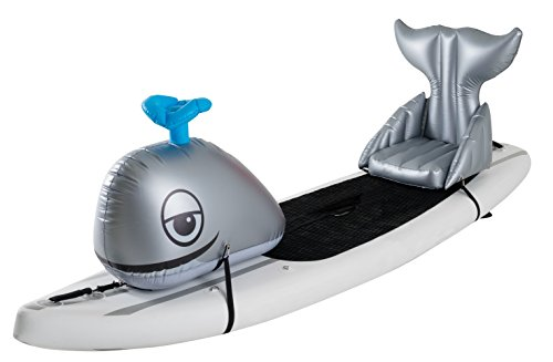Stand Up Floats Inflatable Toy Whale and seat Easily attaches to Any SUP Paddle Board with Removable Universal Harness, Grey, Large, by