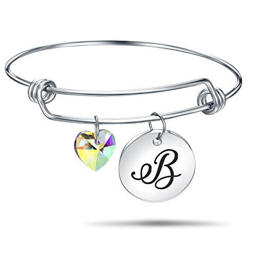 habet Bracelet Letter Engraved Stainless Steel Material with Heart Crystal Personalized Charm Bangel Jewelry (B-Silver) ()