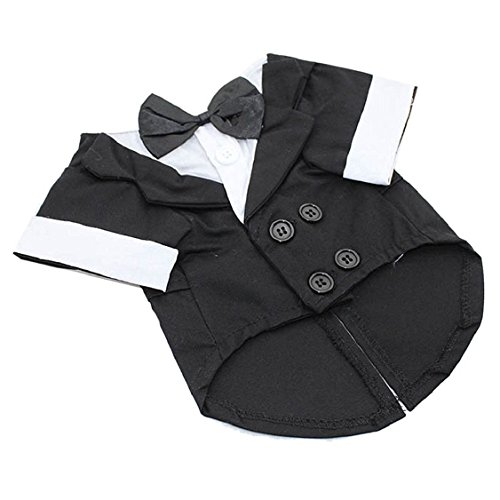 Egmy Fashion Pet Suit Small Pet Dog Puppy Cat Tuxedo Bow Tie Wedding Suit Costumes Coat (S, (Cat Tuxedo Costume)
