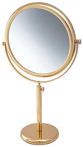 Frasco Mirrors Vanity Stand Double Sided Mirror, Brass, 2.9 lb.