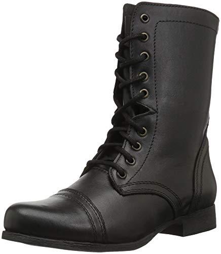 (Steve Madden Women's Troopa Combat Boot, Black Leather, 6 W US)