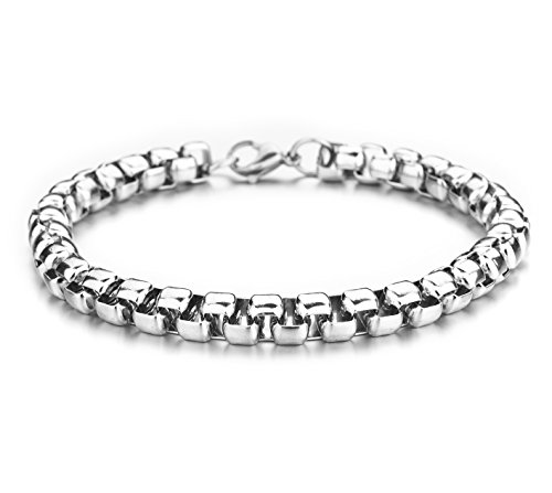 Monily 7mm 8Inches Square Rolo Stainless Steel Bracelet Stainless Steel Chain Necklace Round Box Necklace Men Women Jewellery
