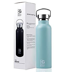 BOGI 20oz Double Wall Vacuum Insulated Stainless Steel Water Bottle-Scratch Resistance,Dishwasher Safe&Eco-Friendly for Outdoor Sports Yoga Camping+Straw Flip Cap,2 Straw&Cleaning Brush-1Year Warranty