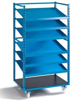 EUROKRAFT Fahrregal - inkl. 3 Ablageböden, Länge 995 mm - Werkstattausstattung Arbeitsplatzsysteme Regale Fahrregale Kanban-Arbeitsplatzsysteme Werkstattausstattung Arbeitsplatzsysteme Regale Fahrregale Kanban-Arbeitsplatzsysteme