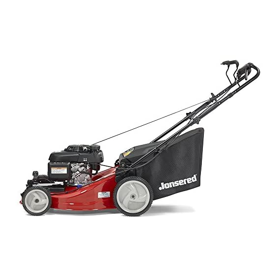 Jonsered L2821, 21 in. 160cc GCV160 Honda 3-in-1 Walk Behind Front-Wheel-Drive Mower 3 Powered by 160cc Honda GCV160 engine with 6.9 ft-lbs Gross torque Dual trigger control system allows you to operate with either hand, or split the effort between both. High-tunnel cutting deck design delivers premium cut quality and bagging performance while providing a close trim, every time.