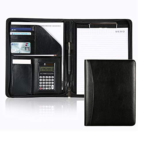 Business Portfolio Case Clipboard Padfolio with Clipboard & Calculator, Mens Zippered Leather Personalized Portfolio Case Document Folder