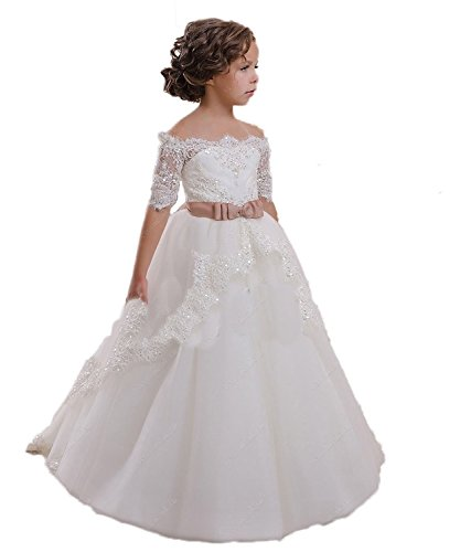 CoCoBridal Lace Flower Girls Dresses Girls First Communion Dress Princess Wedding (2T, -
