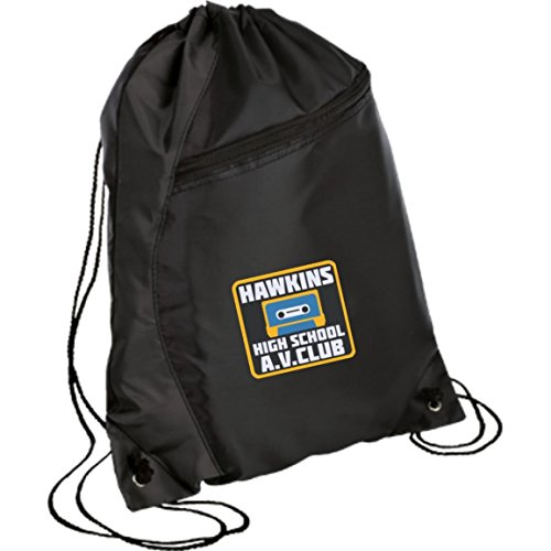 Embroidered Cinch Backpack (Hawkins High School Backpack Cinch Pack (Black/Black))