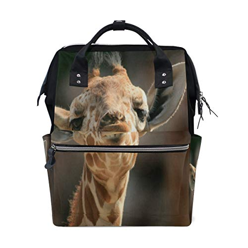 Diaper Bags Cute Small Giraffe Fashion Mummy Backpack Multi Functions Large Capacity Nappy Bag Nursing Bag for Baby Care for Traveling ()