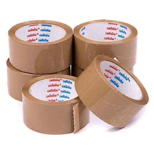 We Can Source It Ltd CELLOFIX Brand The Best Packaging Tape on The Market! 12 Rolls of Brown Buff Low Noise Packing Tape 48mm x 66M