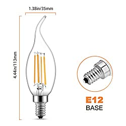 Dimmable LED Candelabra Bulb 6W 600LM 2700K Warm W