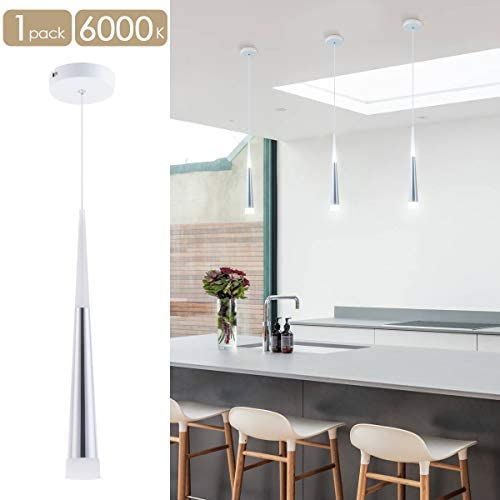 Bewamf Modern Mini Island Pendant Light with Acrylic Shade LED Adjustable Cone Contemporary Pendant Lighting for Kitchen Island Dining Room Living Room Bar 9W Cool White 6000K Aluminum