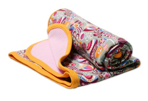 Zutano Baby-Girls Infant Peacock Print Blanket, Stone, One - Cotton Blankets Zutano