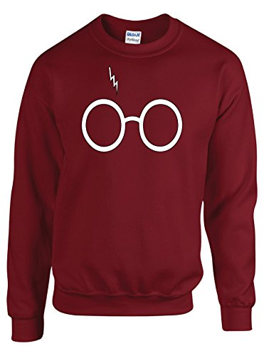 Outlook Designs Harry Potter Glasses Sweater Crewneck Large Maroon