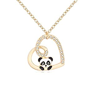 TUSHUO Heart Crystal Pendant Panda Fox Animal Chain Necklace Best Gift Jewely for Women Girls