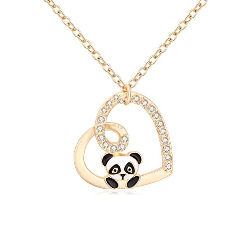 TUSHUO Heart Crystal Pendant Panda Fox Animal Chain Necklace Best Gift Jewely for Women Girls (Gold Panda)