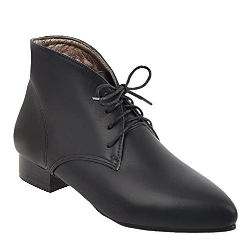 Carolbar Oxfords Fashion Black Pointed Boots Lace Heel Retro Women's Up Toe Low zPxz4