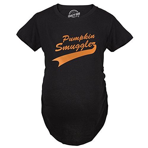 Maternity Pumpkin Smuggler Funny Fall T Shirt Cute Halloween Pregnancy Tee (Black) - XL