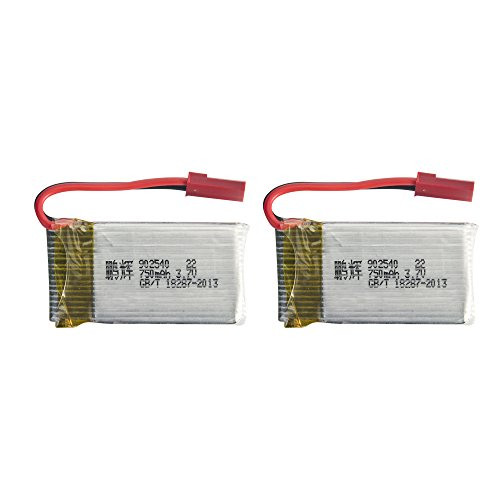 Tech RC 2 Packs Drone Spare Parts 3.7V 750mAh Lipo Replacement Batteries with 1 USB Charger for MJX X400-V2