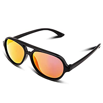RIVBOS RBK004 Rubber Flexible Kids Polarized Sunglasses for Baby and Children Age 3-10 (Mirrored Lens Available) (14313-Black Coating Lens)
