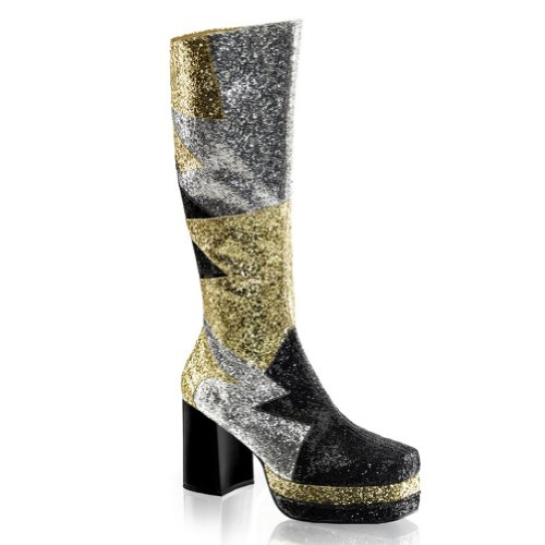 3 1/2 Inch MENS SIZING Glitter Glam Rockstar Costume Boots Chunky Heel Size: Large