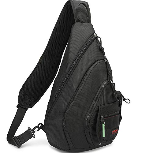 (Sling Bag Backpack, Chest Crossbody Bags Sling Shoulder Backpacks One Strap Multipurpose Daypack Laptops Travel Outdoors Backpack for Men Women Teens (Black(Fits 14.1-Inch Laptops)))