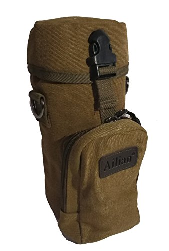 (NALEDI Protector Plus Military Water Bottle Pouch Holder Tactical Kettle/2 Pockets and an Adjustable Padded Strap. (dark brown))