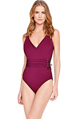 Gottex Wine Jezebel Surplice One Piece Swimsuit Size 12 by Gottex
