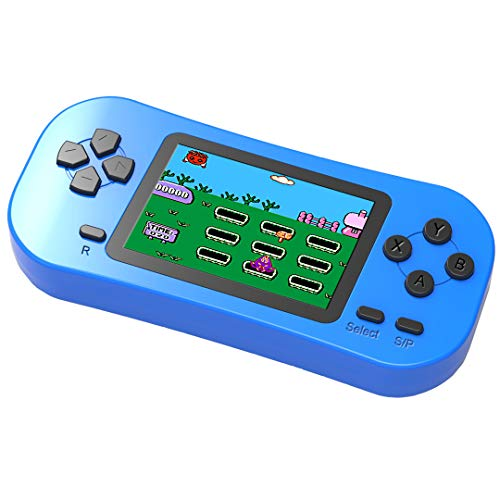 Douddy Kids Retro Handheld Game Console Built in 218 Old School Video Games 2.5'' Display USB Rechargeable 3.5 MM Headphone Jack Arcade Entertain System Children Birthday (Blue)