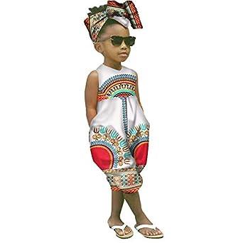 485c78b119800 Sunnywill BéBé Fille Tenues VêTements ÉTé Ensemble Imprimé Africain sans  Manches Combinaison Barboteuse+Bandeau,