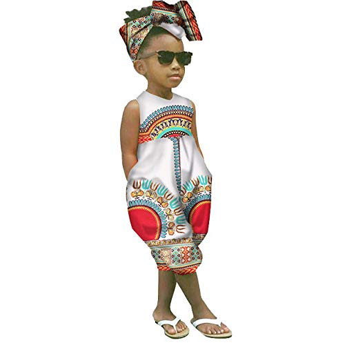 WOCACHI Toddler Kid Baby Girls African Print Sleeveless Romper Hair Band Jumpsuit Clothes Back to School Father's Day Children's Day July 4th Pregnant Woman Love You 3000 Times ()